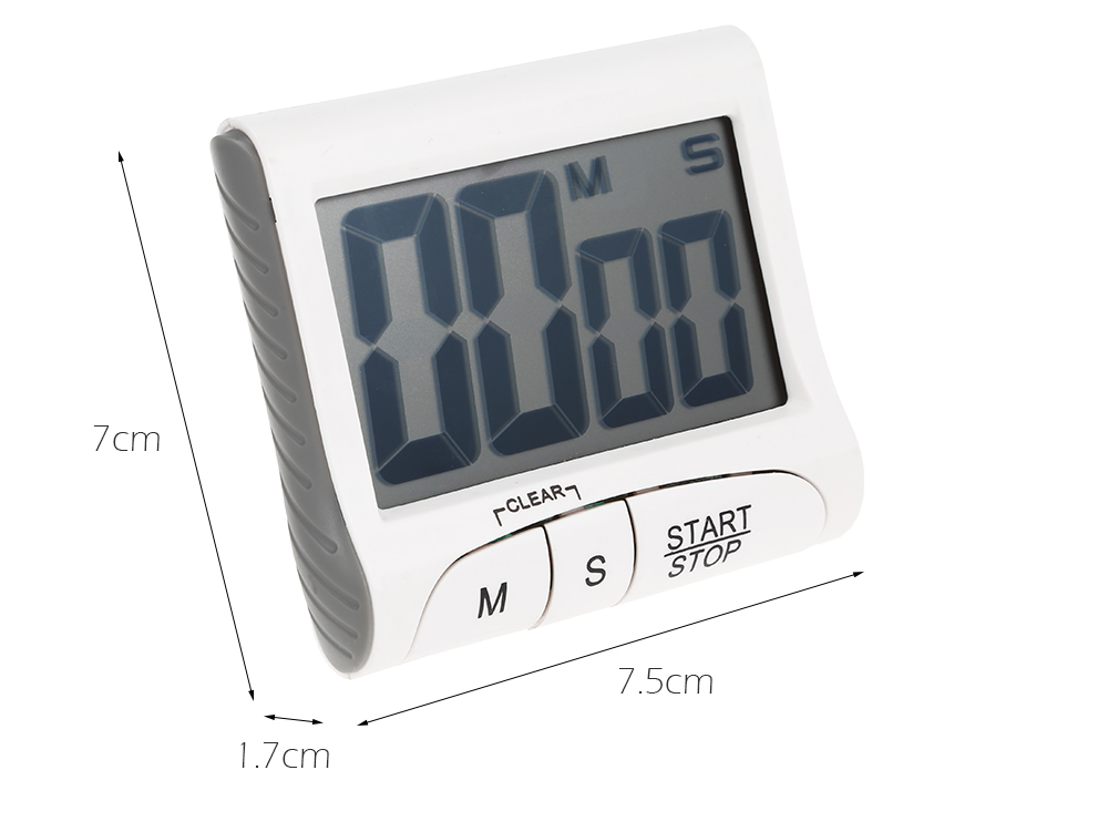 LCD Digital Kitchen Cooking Timer Count Down Clock- White