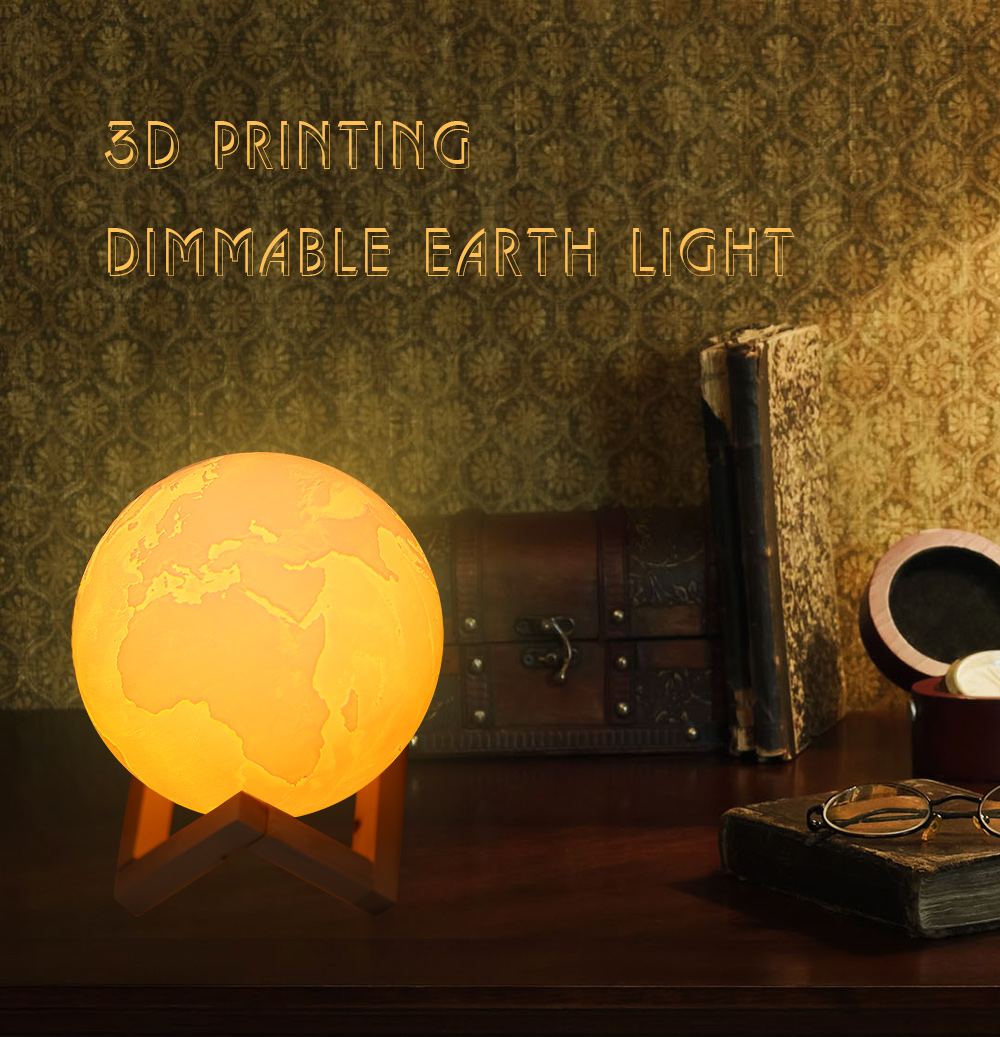 3D Printing 16 Colors Earth Light Dimmable Desk Decorative Lamp with Remote Control