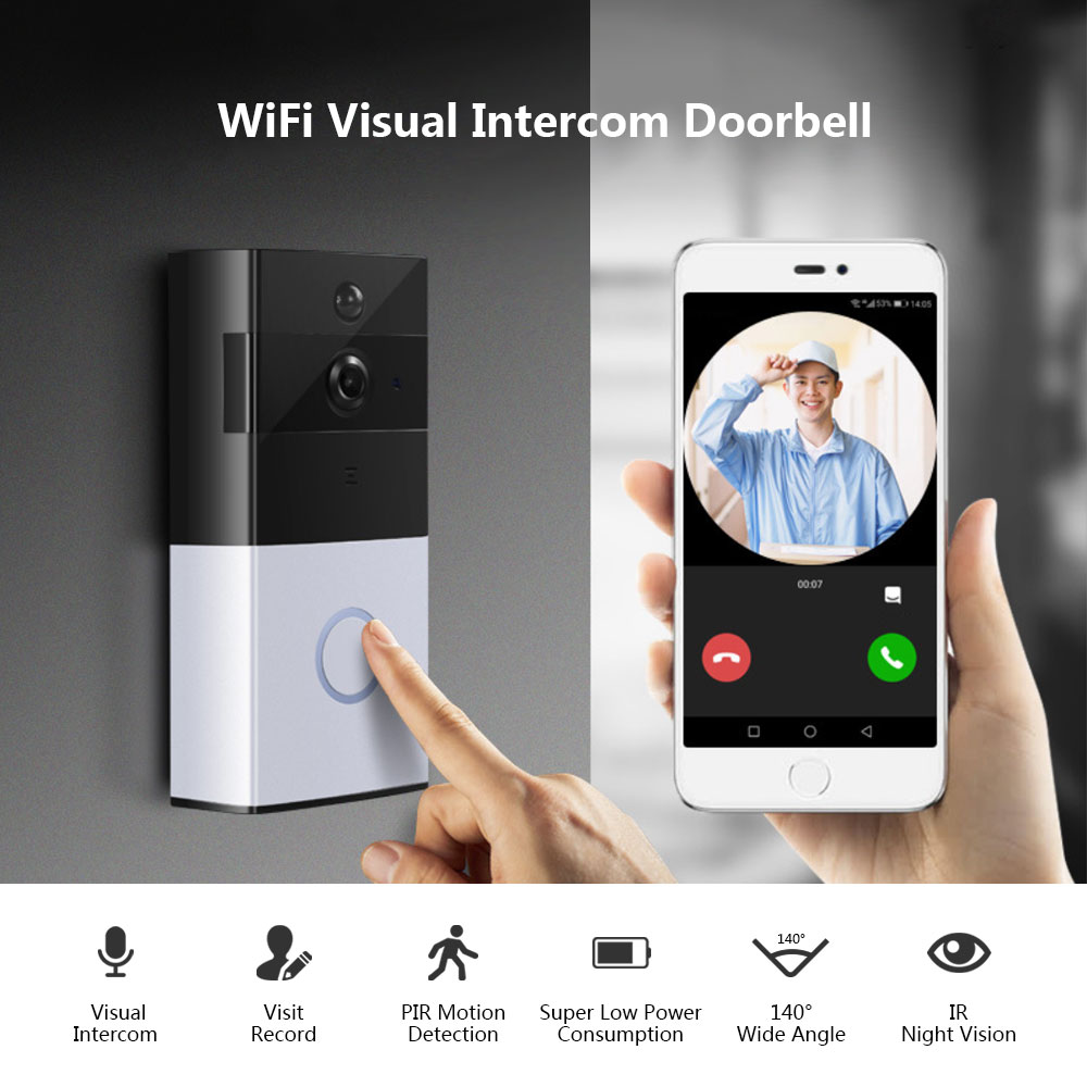 XM - JPIDG1 Smart Home Wireless WiFi Video Visual Intercom Camera Doorbell PIR Motion Detection- Silver