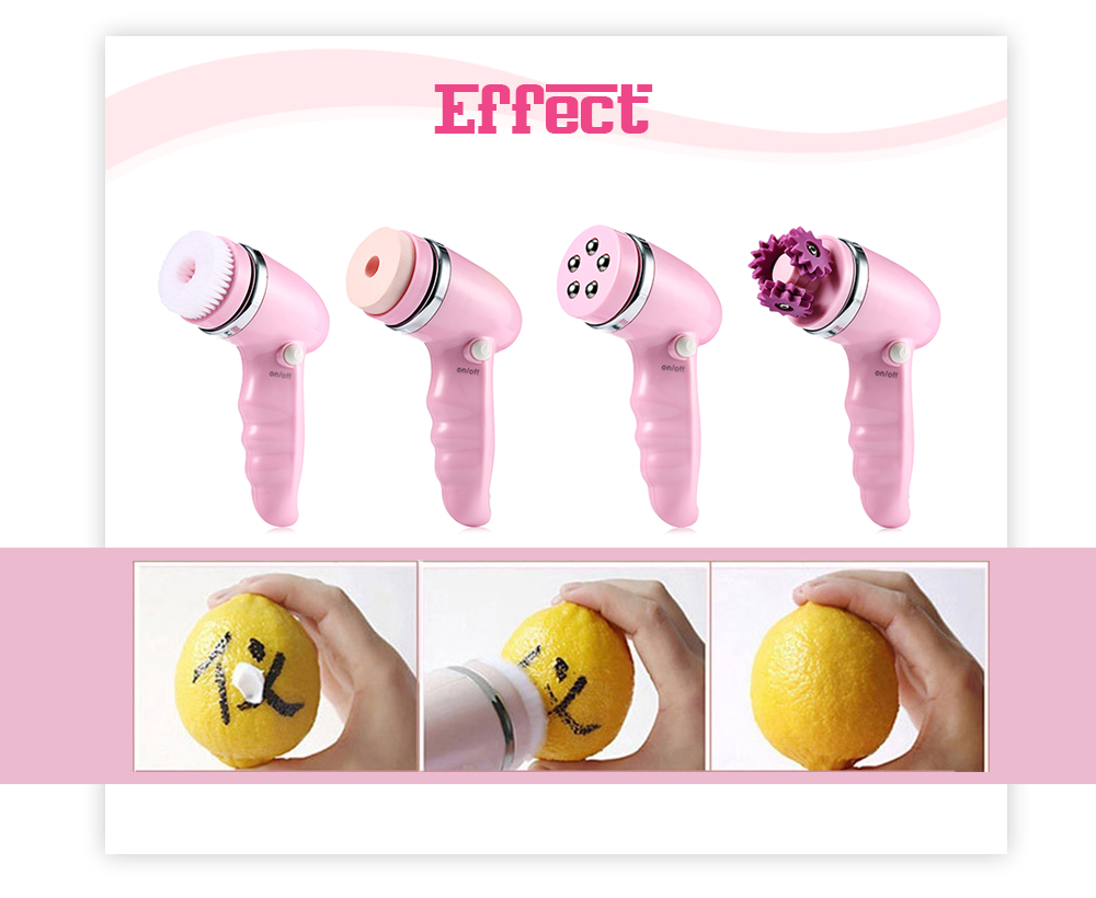 4 in 1 Electric Face Cleaning Brush Pore Cleaner Facial Exfoliator Skin Spa Beauty Care Massager- Light Pink
