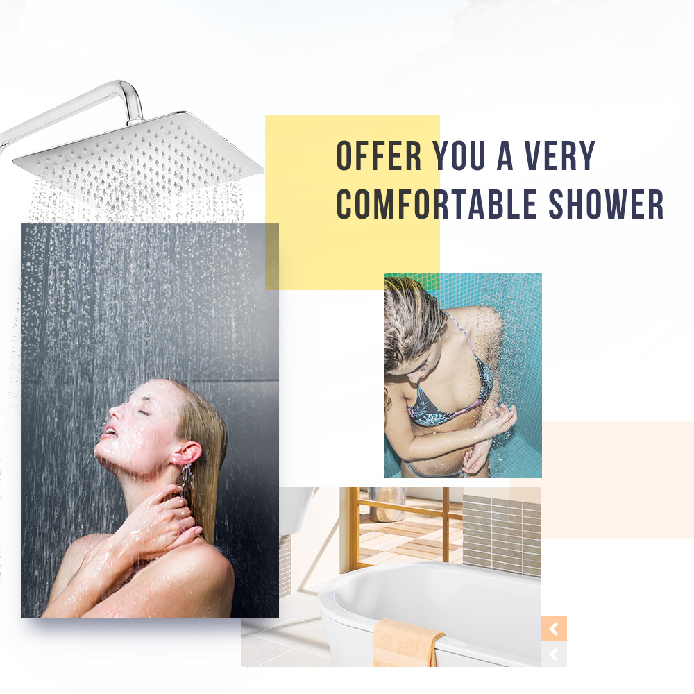 12 inch Ultra-thin Square Stainless Steel Rainfall Shower Head Top Shower- Silver