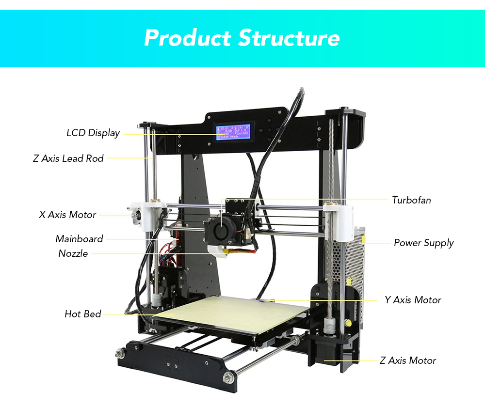 Anet A8 High Accuracy 3D Desktop Printer- Black EU Plug