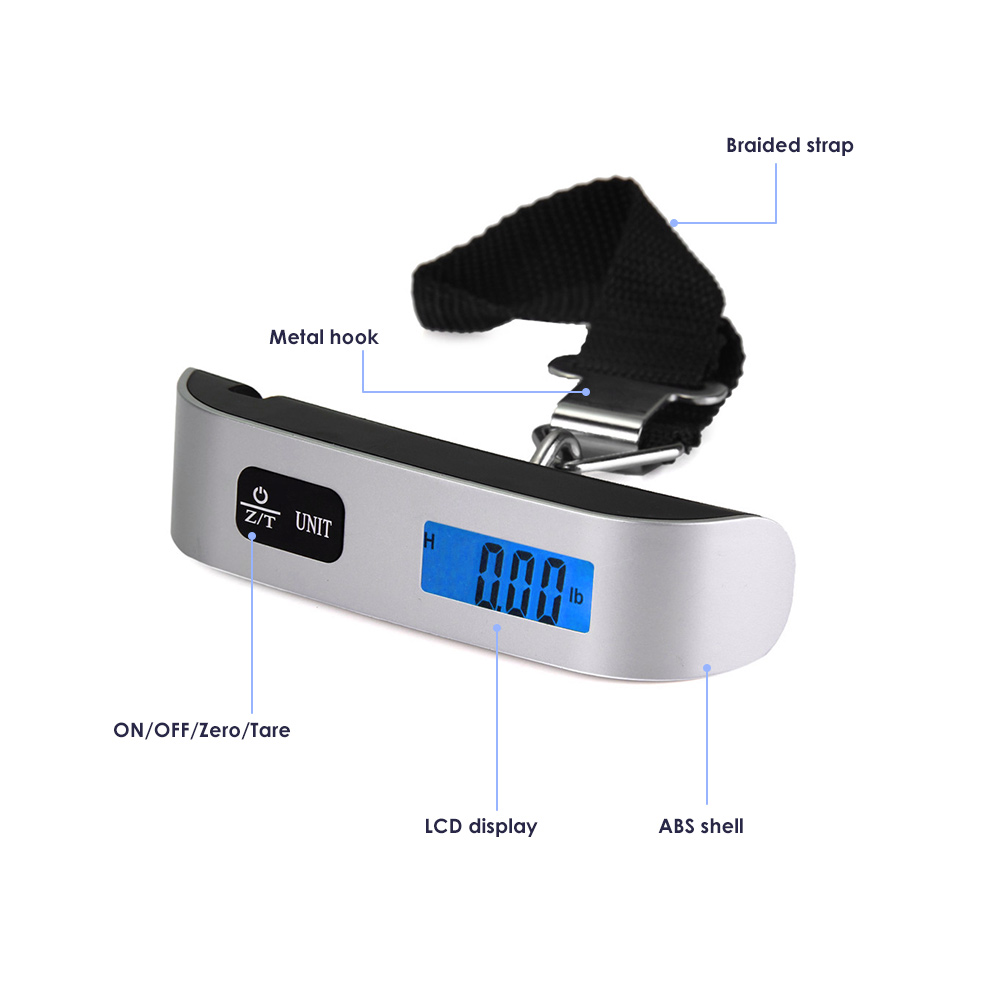 Hostweigh NS-14 LCD Mini Luggage Electronic Scale Thermometer 50kg Capacity Digital Weighing Device- Silver