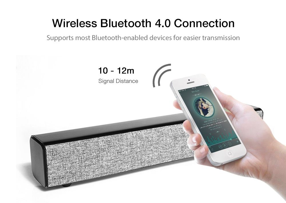 BT808 Wireless Bluetooth Soundbar Speaker Subwoofer Sound- Brown