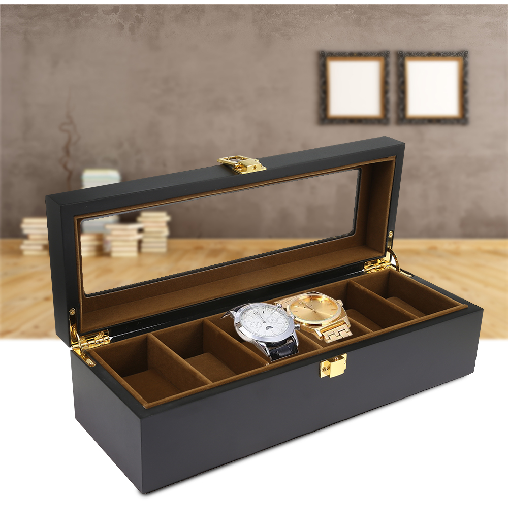 6 Grids Wooden Watch Box Jewelry Display Storage Organizer- Black