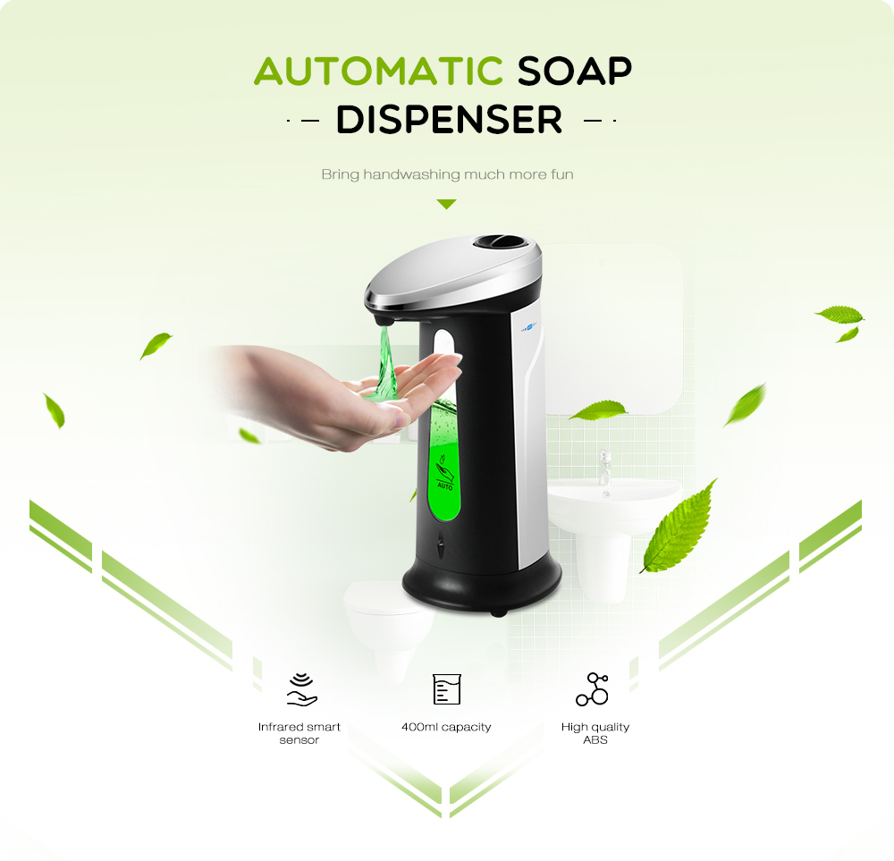 AD - 03 400ml ABS Electroplated Automatic Soap Dispenser Touchless Sanitizer Dispenser- White and Black