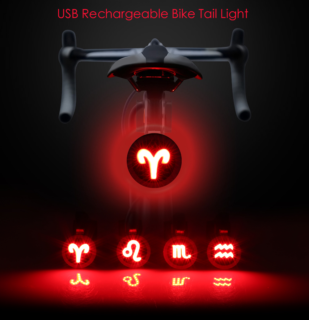 USB Rechargeable LED Red Rear Light Bicycle Taillight For Cycling Safety Night H