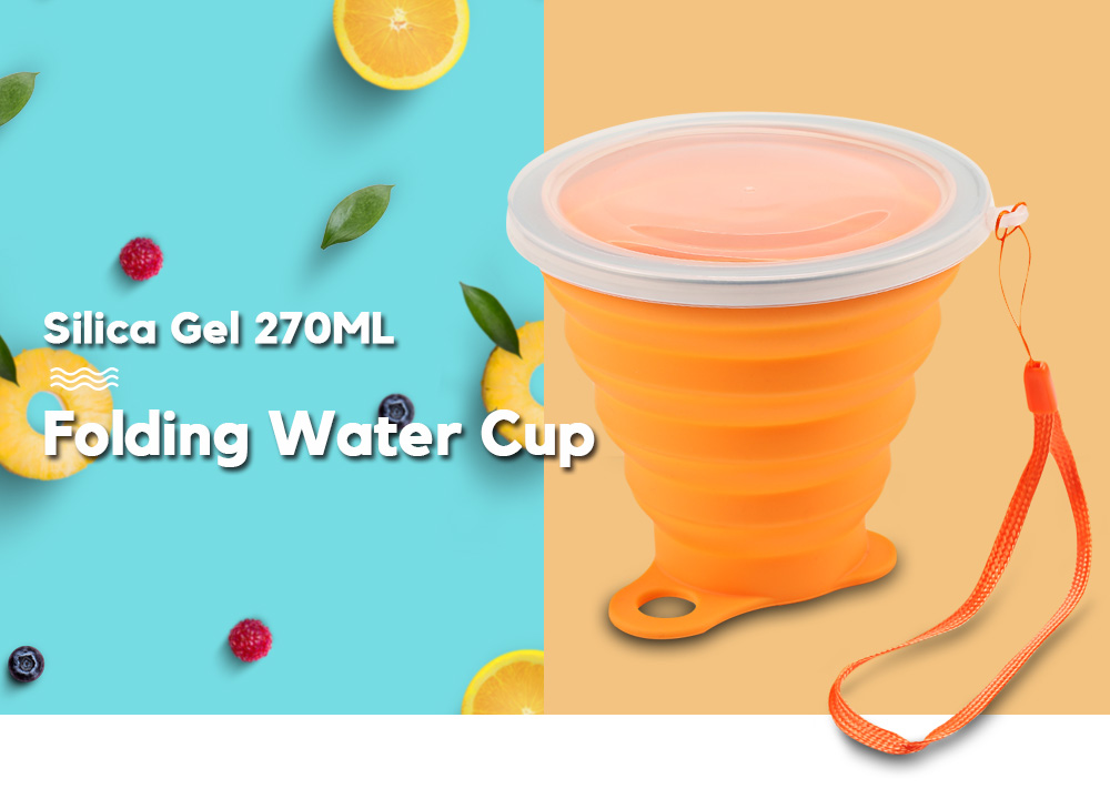 Silica Gel 270ML Folding Water Cup Heat Resistance with Cover Strap- Butterfly Blue
