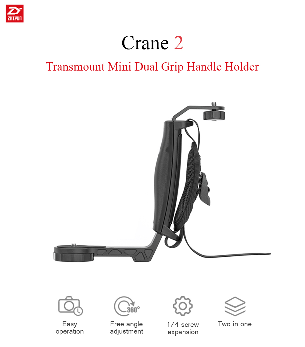 Zhiyun Crane 2 Gimbal Accessories L Bracket Mini Dual Grip Handle Holder- Black
