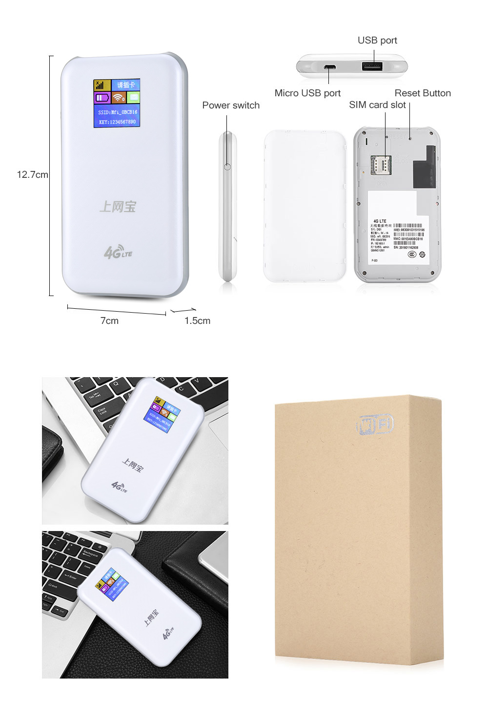 K2 4G WiFi Mobile Router wireless Hotspot Power Bank- Warm White