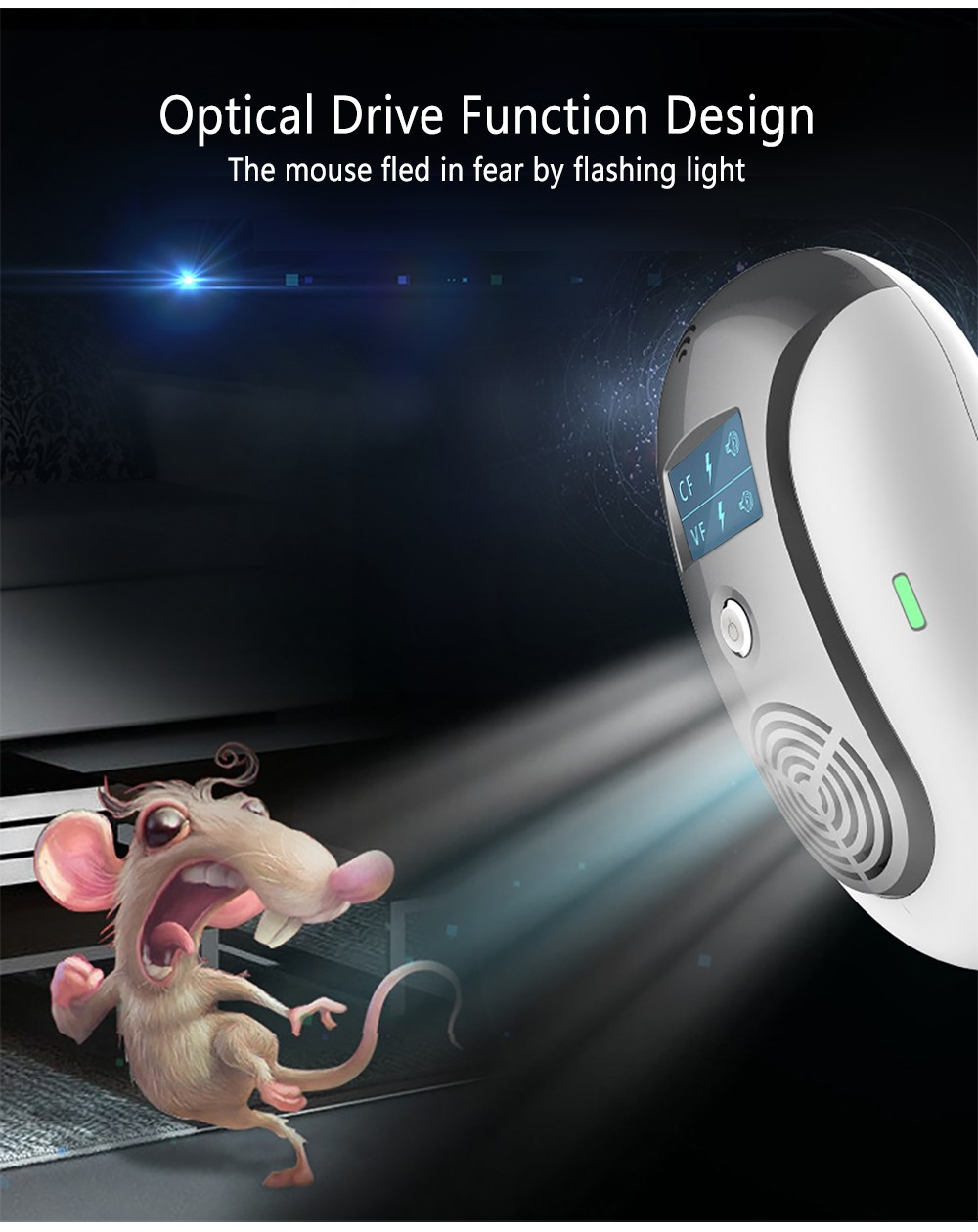 Haojiashu Ultrasonic Pest Repeller Mouse Mosquito Repellent Equipment- Black EU Plug