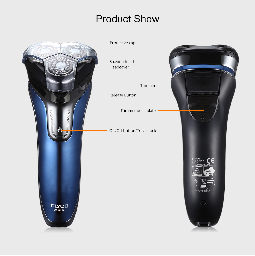 Flyco Fs375eu Electric Rechargeable Shaver Wet Dry Rotary Razor For