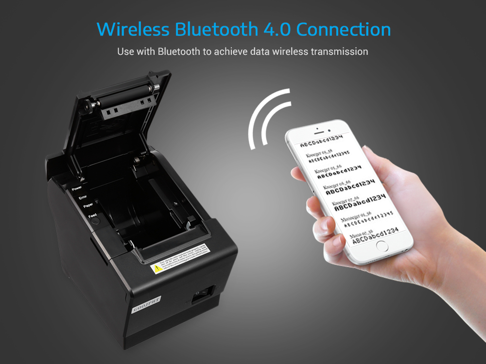 GOOJPRT JP58D USB Bluetooth Thermal Printer with Gearwheel for Android iOS
