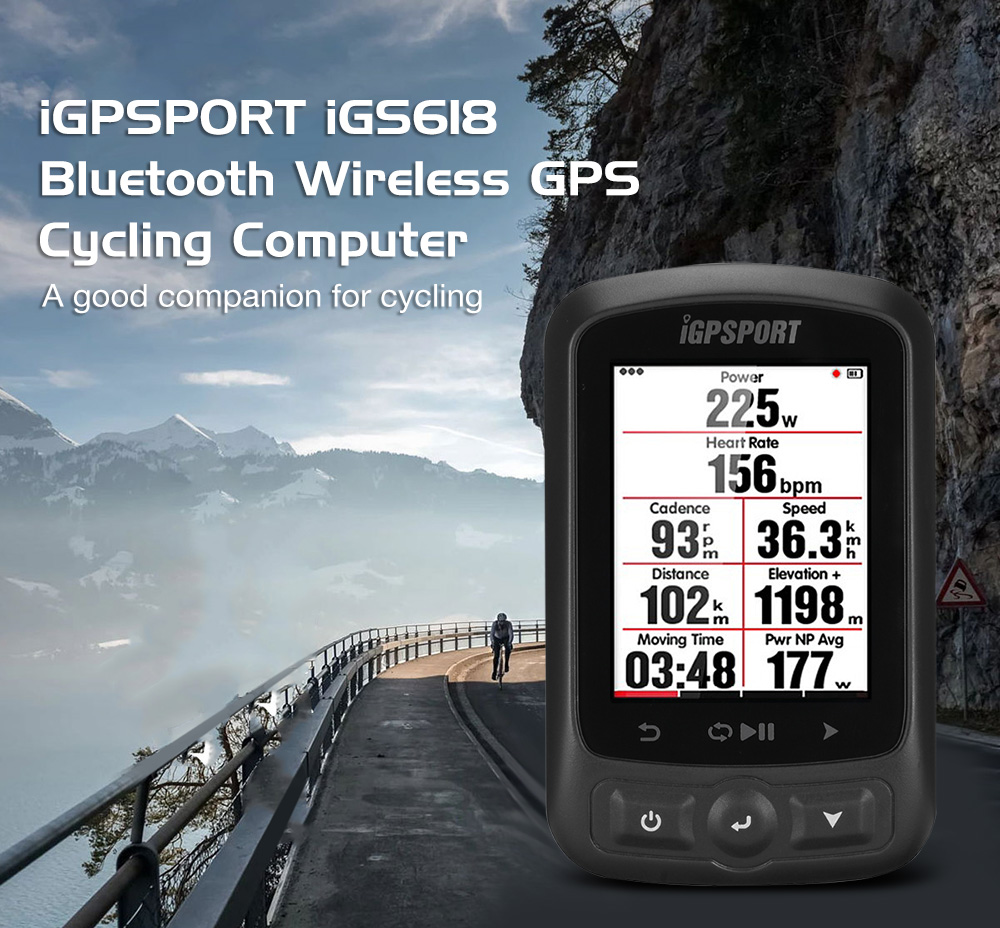 iGPSPORT iGS618 Bluetooth Wireless GPS Cycling Computer Black