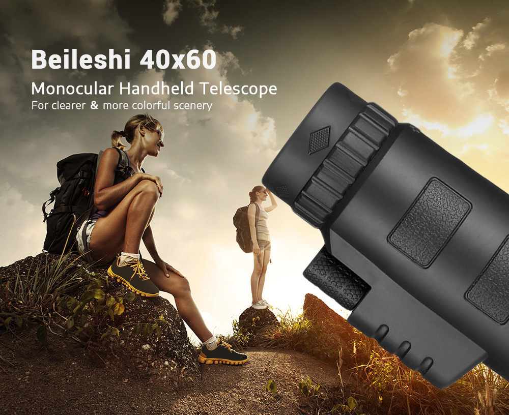 Beileshi 40x60 Monocular Handheld Telescope with Phone Clip and Tripod- Black