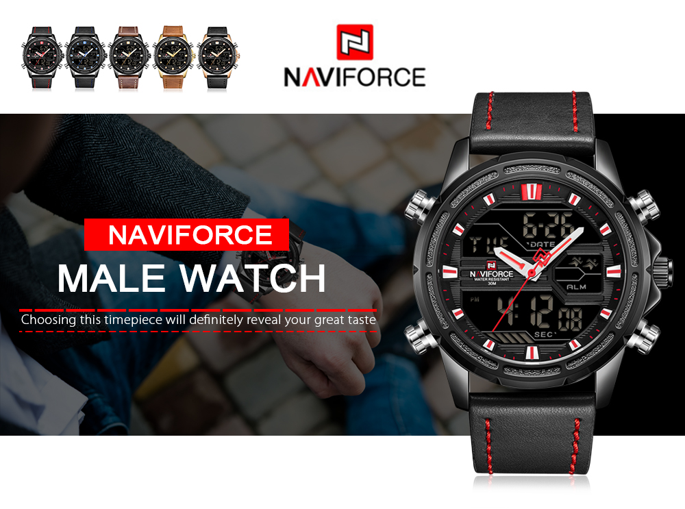 NAVIFORCE 9138 Male Quartz LCD Digital Watch Calendar Leather Band Wristwatch- Blue