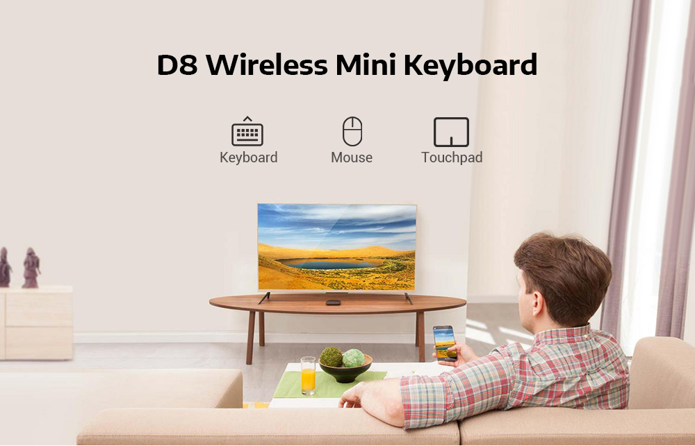 D8 Portable Wireless Mini Keyboard Touchpad with Colorful Backlight Function- Black
