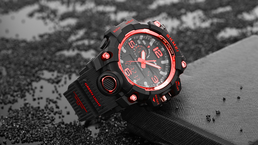 SKMEI 1155 Men Double Movement Watch Water Resistance Dual Time Day Alarm Light Wristwatch- Red
