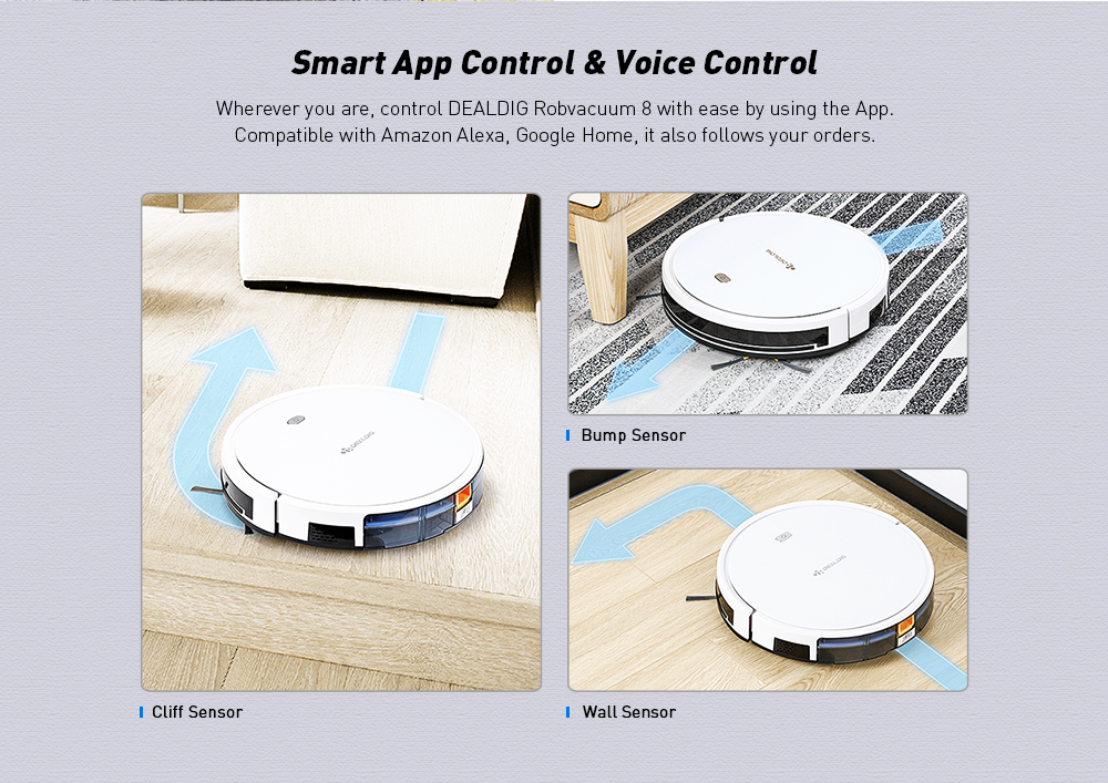 DEALDIG Robvacuum 8 Robot Vacuum Cleaner with WiFi Connectivity Work for Alexa- White With US and EU Plug