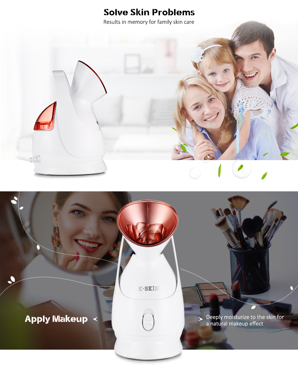 KINGDOMCARES KC - 1331A Facial Steamer Hot Mist Sprayer Steaming Machine Beauty Instrument Face Skin Care- White US Plug