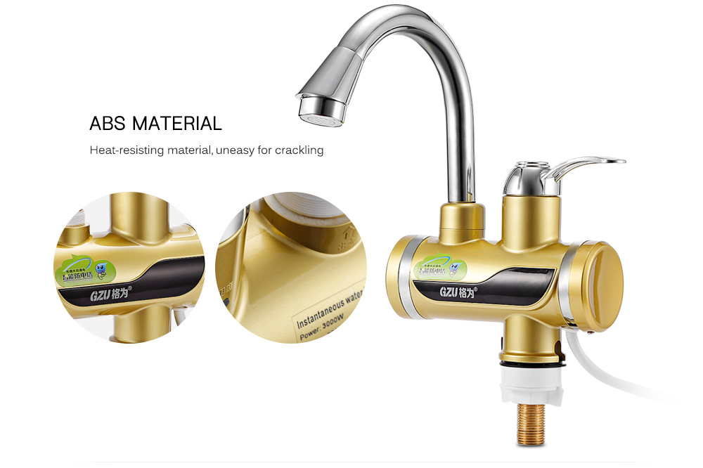 GZU ZM - D4 Kitchen Bathroom Electric Hot Water Heater Faucet with LED Display- White