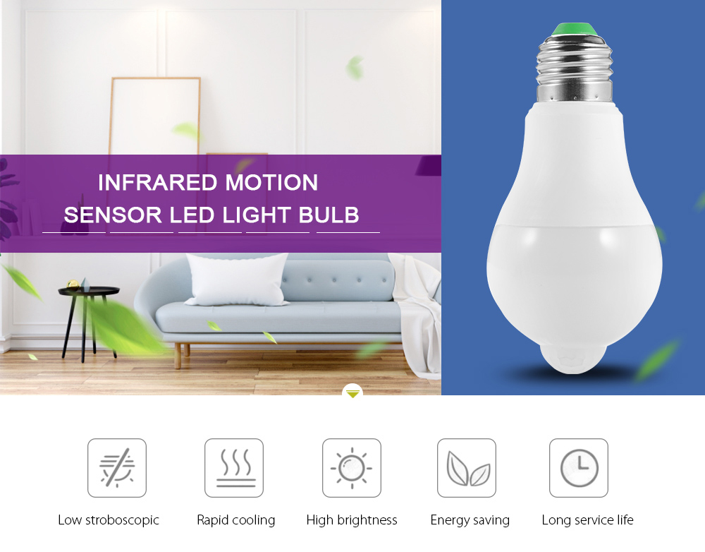 Infrared Motion Sensor LED Light Bulb Lamp Screw Base for Indoor Lighting - White