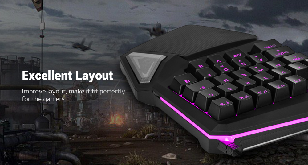 Delux T9 Pro Wired Gaming Keypad 30 Keys One-handed Membrane Keyboard