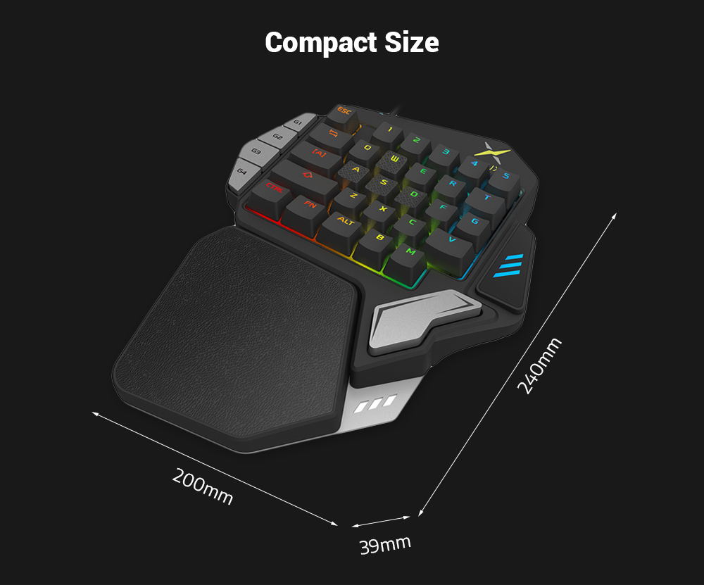 Delux T9X Wired Gaming Keypad 33 Keys One-handed Membrane Keyboard
