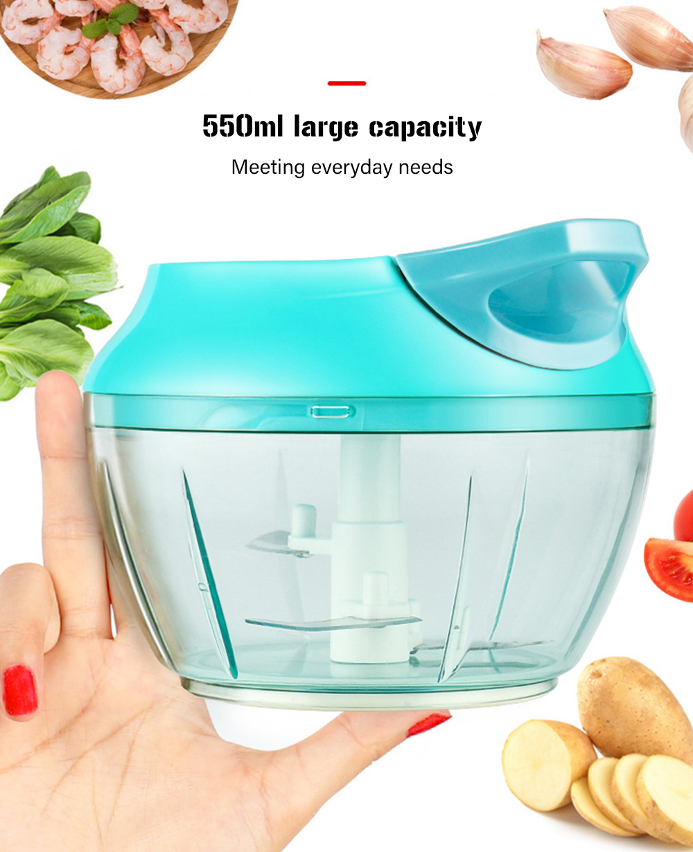 Pull String Chopper Manual Food Processor for Fruits Vegetables- Macaw Blue Green