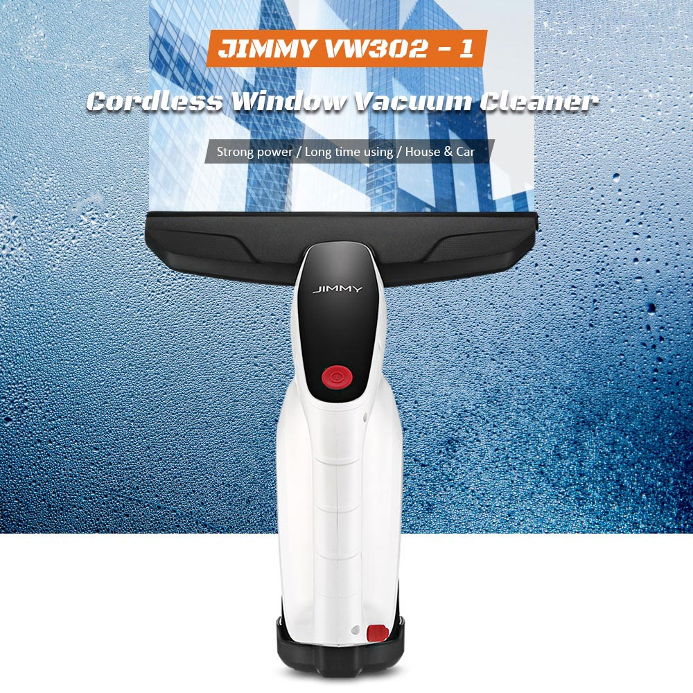 JIMMY VW302 - 1 Cordless Window Glass Vacuum Cleaner with Squeegee / Spray Bottle- White