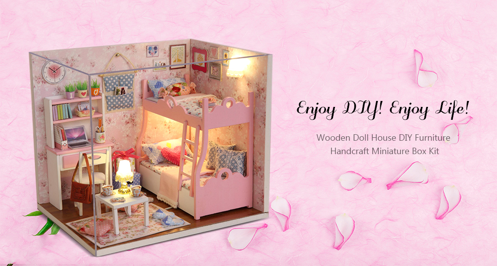 CUTEROOM H - 012 - A DIY Wooden Doll House Furniture Handcraft Miniature Box Kit - Blossom Age- Colormix