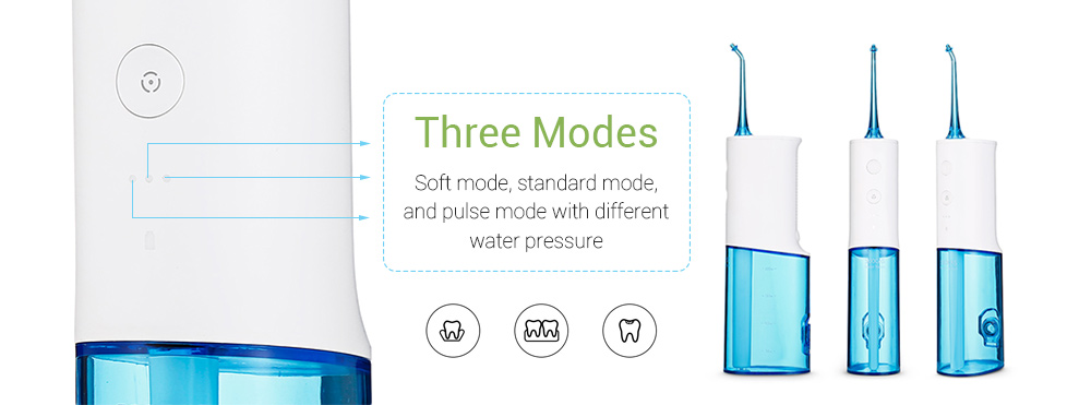 SOOCAS W3 IPX7 Waterproof Portable Oral Irrigator 230ml Water Tank Constant Pulse Pressure from Xiaomi youpin- White