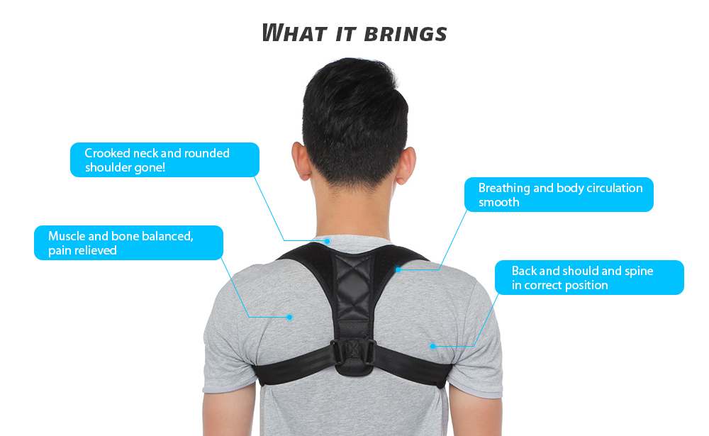 Back Shoulder Posture Corrector Support Brace Belt Unisex Health Care- Black