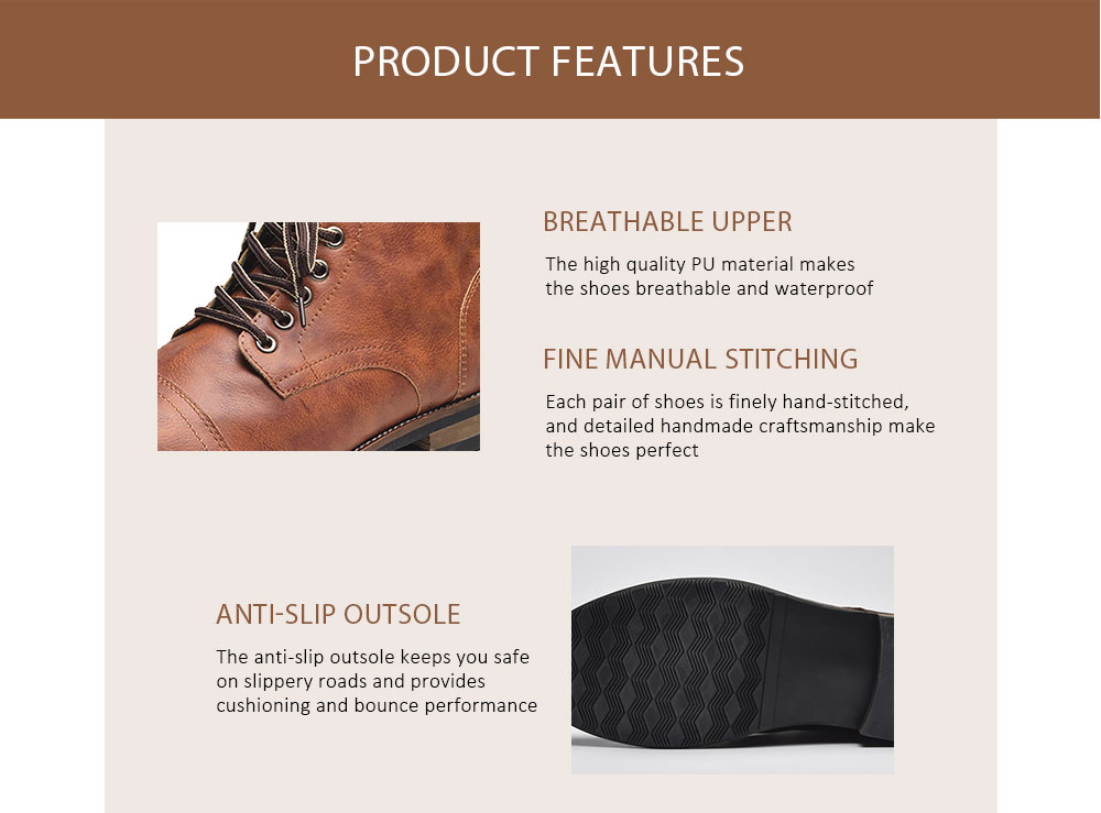COSIDRAM Male British Boots for Autumn and Winter- Deep Brown EU 41