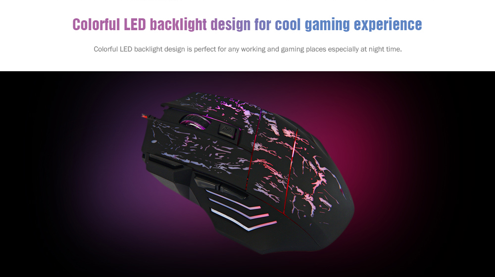 27fb6133c68 A874 3200DPI 7 Buttons LED USB Wired Gaming Mouse Compatible with Computer  and Laptop- Black