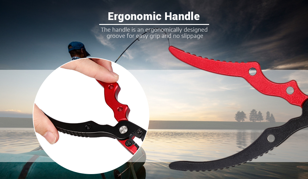 Aluminum Alloy Fishing Pliers Split Ring Cutter with Sheath and Retractable Tether Combo- Red