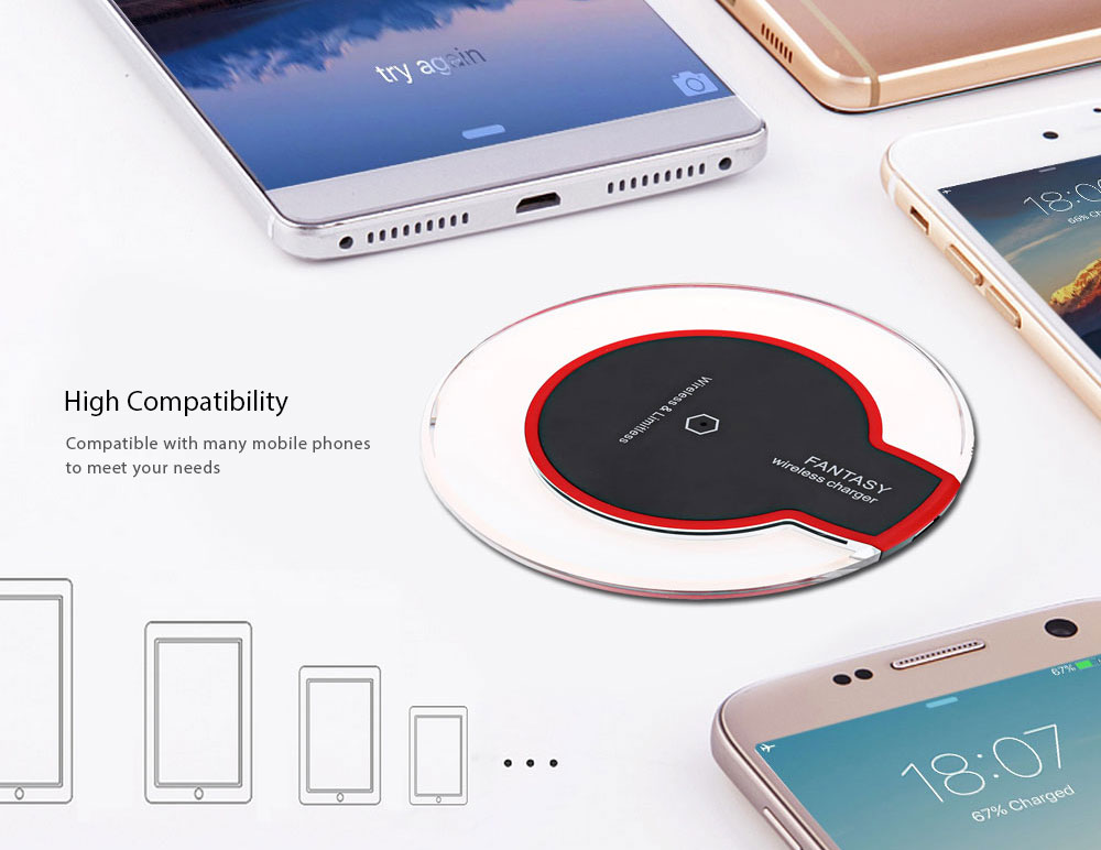 Enabled Devices Transparent Border Wireless Charger Pad- Black