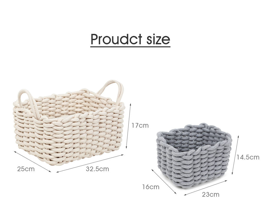 Hand-knitted Cotton Rope Storage Box Snack Key Baby Toy Basket- Blue Gray Small