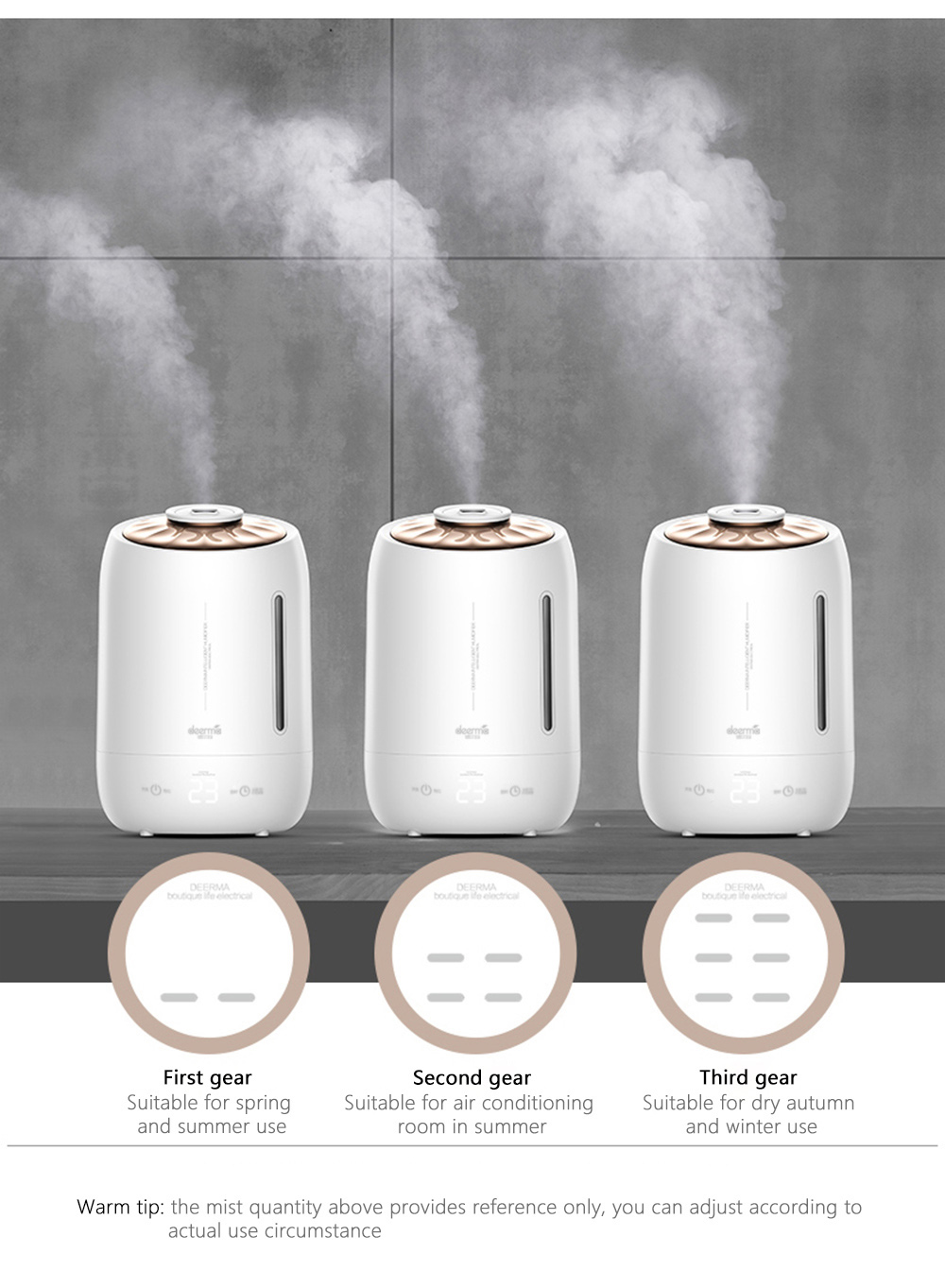 DEERMA DEM - F600 Household Humidifier Air Purifying Mist Maker- White Chinese Plug (2-pin)