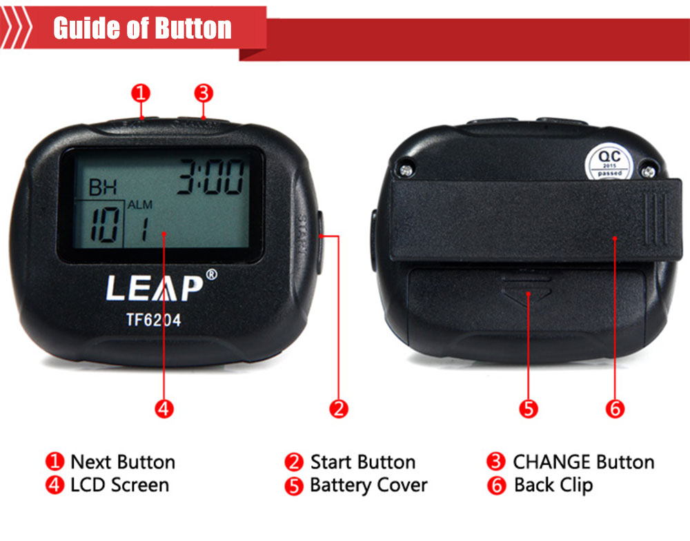 LEAP TF6204 Interval Timer for Sports Fitness Boxing with LCD- Black