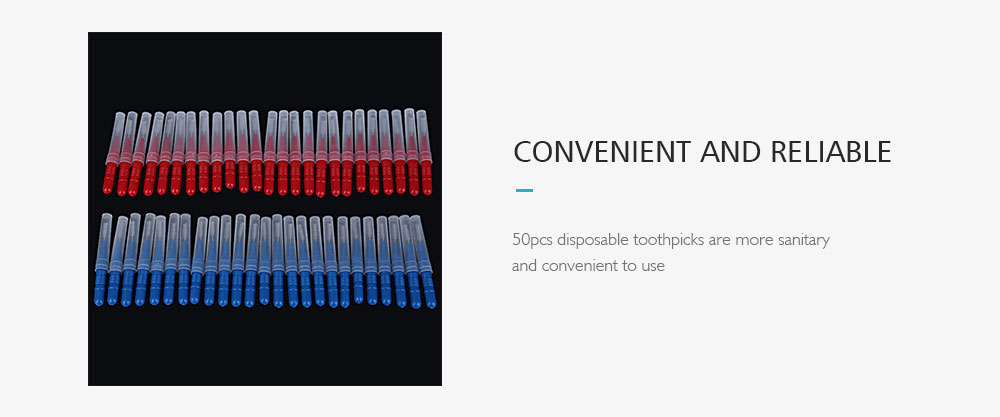 Tooth Flossing Head Oral Hygiene Cleaner Interdental Brush 50pcs- Blue and Red
