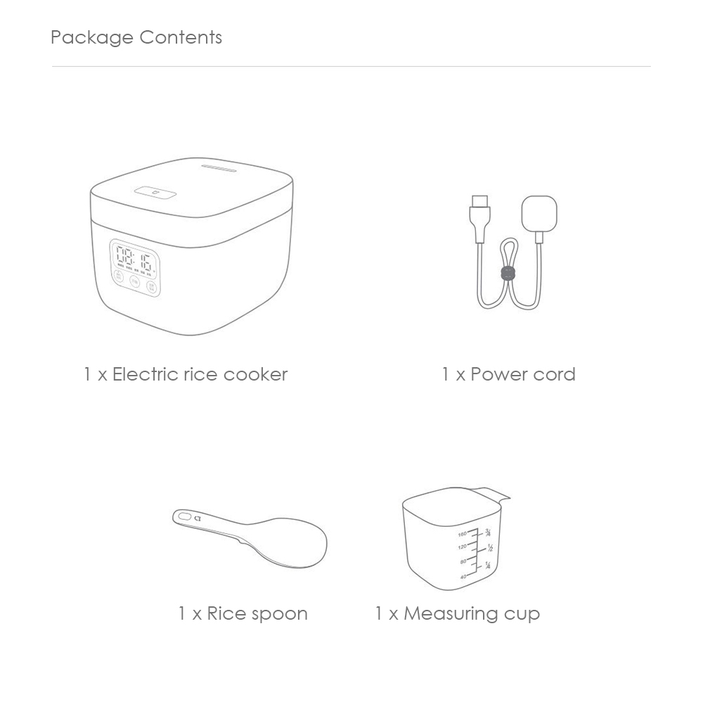 Xiaomi 1.6L Home Rice Cooker Portable Electric Cooking Equipment- White Chinese Plug (3-pin)