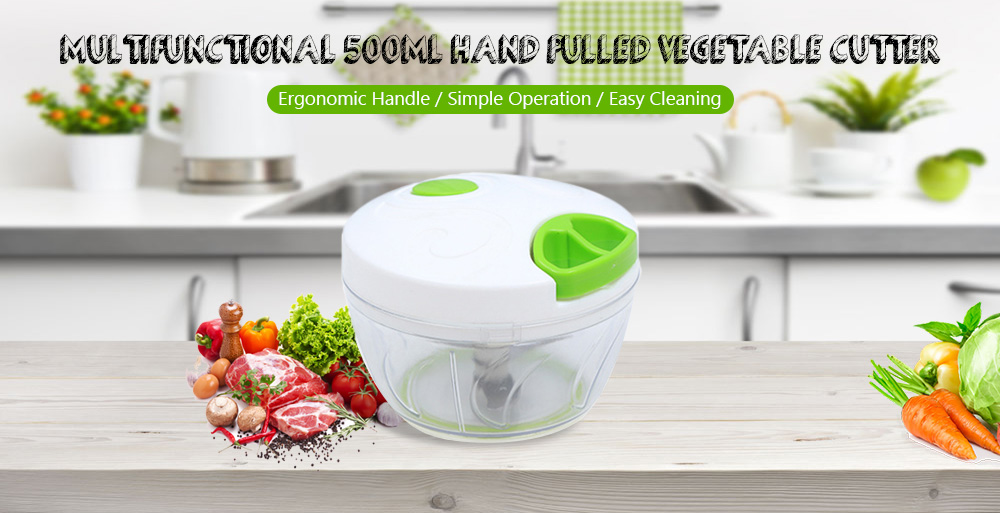 Multifunctional 500ml Hand Pulled Vegetable Cutter Kitchen Manual Food Grinder Tool- Yellow Green Bent Blade