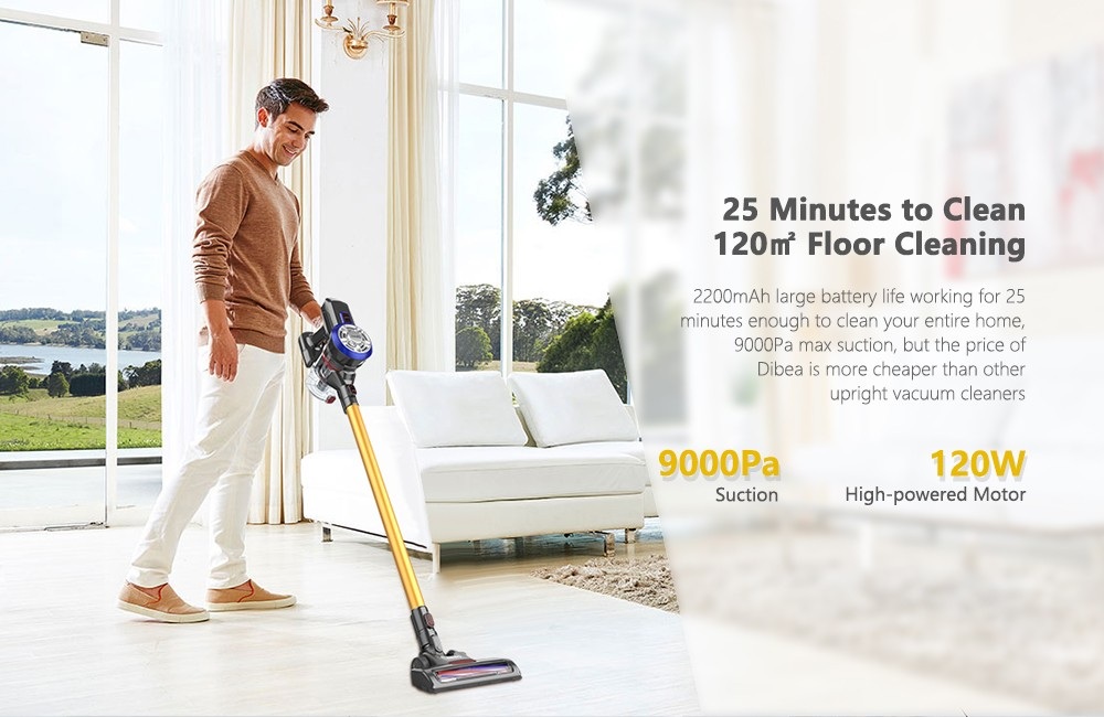 Dibea D18 Lightweight Cordless Handheld Stick Vacuum Cleaner with Motorized Brush- Gold EU Plug