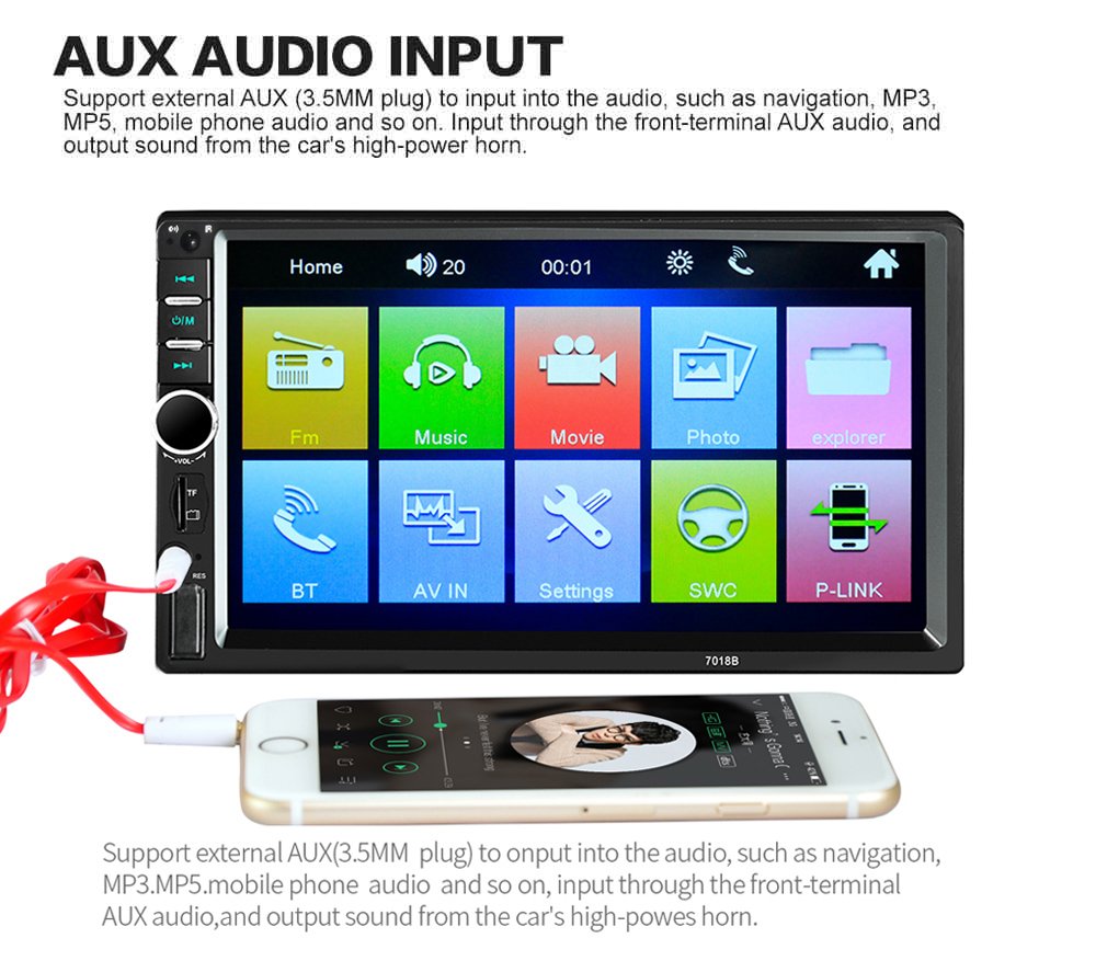 7018B 7 Inch Bluetooth V2.0 12V Car Audio Stereo MP5 Player Auto Video with Rearview Camera- Black