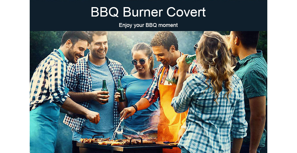 Waterproof Barbecue Grill Dust Protector Polyester Rain Cover- Black L