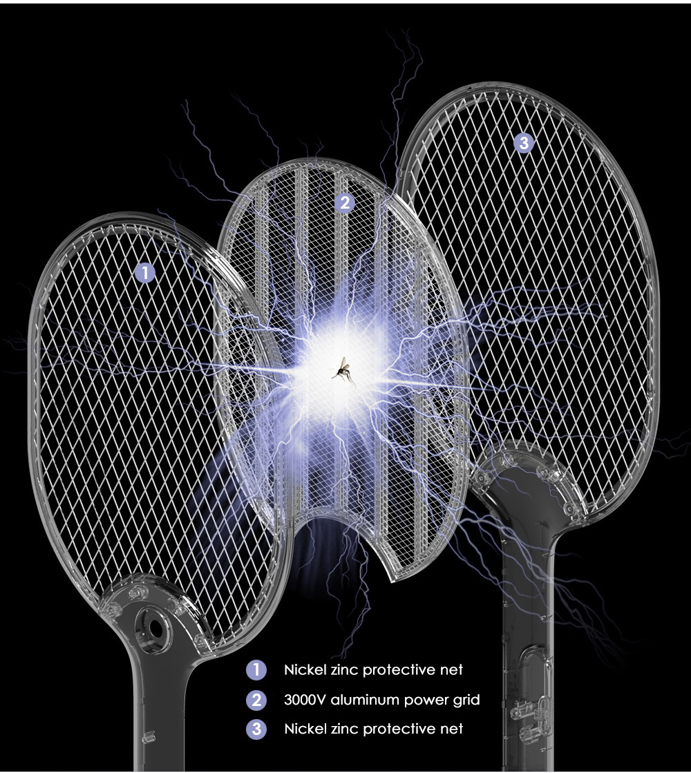 Rechargeable Household Three Grids LED Electric Mosquito Swatter- Pink