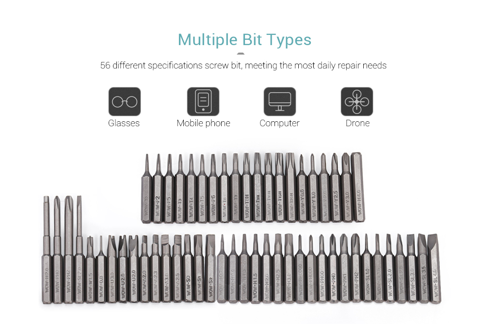 Wowstick 56pcs 4mm Bits for Precision Electric Screwdriver- Multi