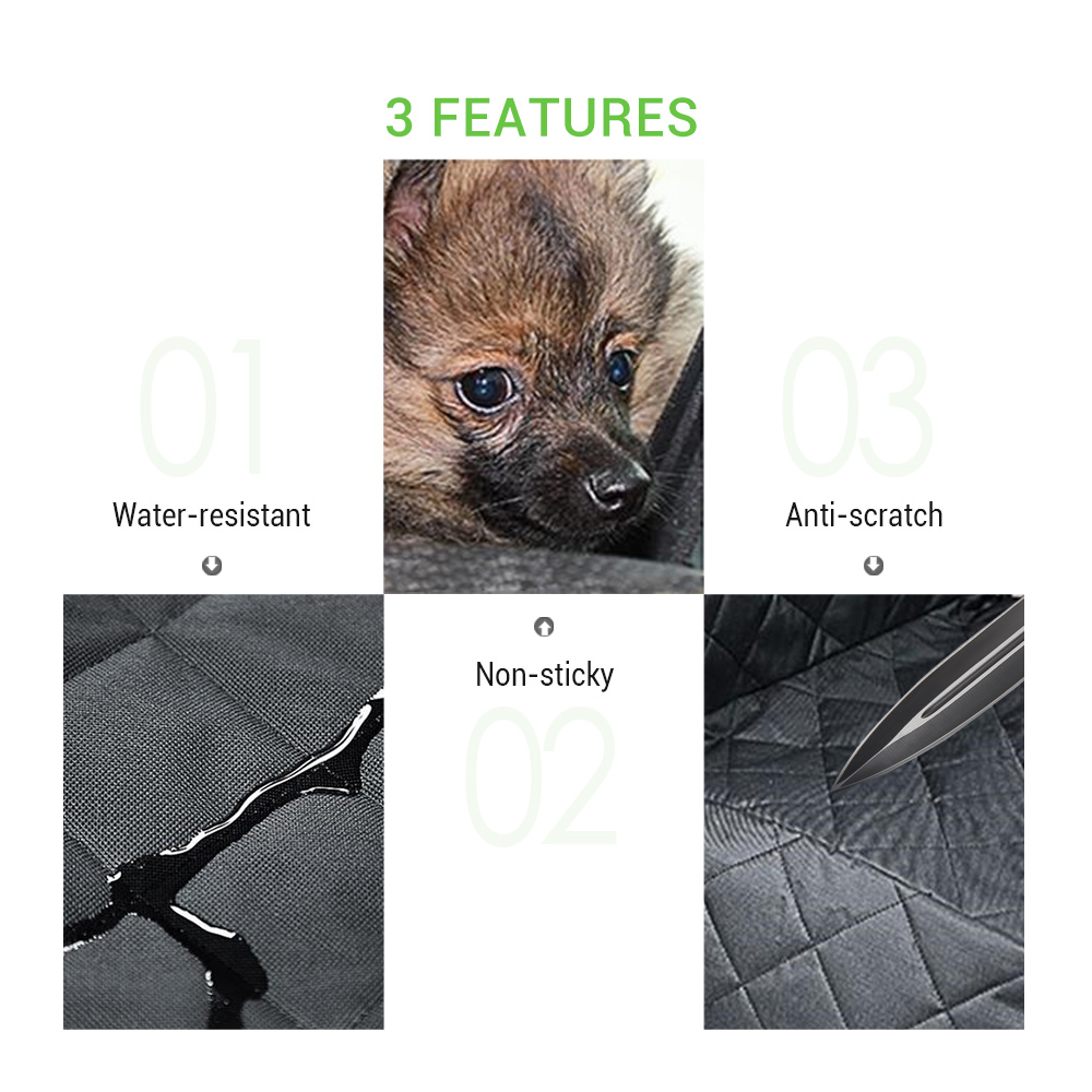 Pet Seat Cover for Car Against Dirt Pet Fur Water Resistant Anti Scratch with Side Flaps- Black