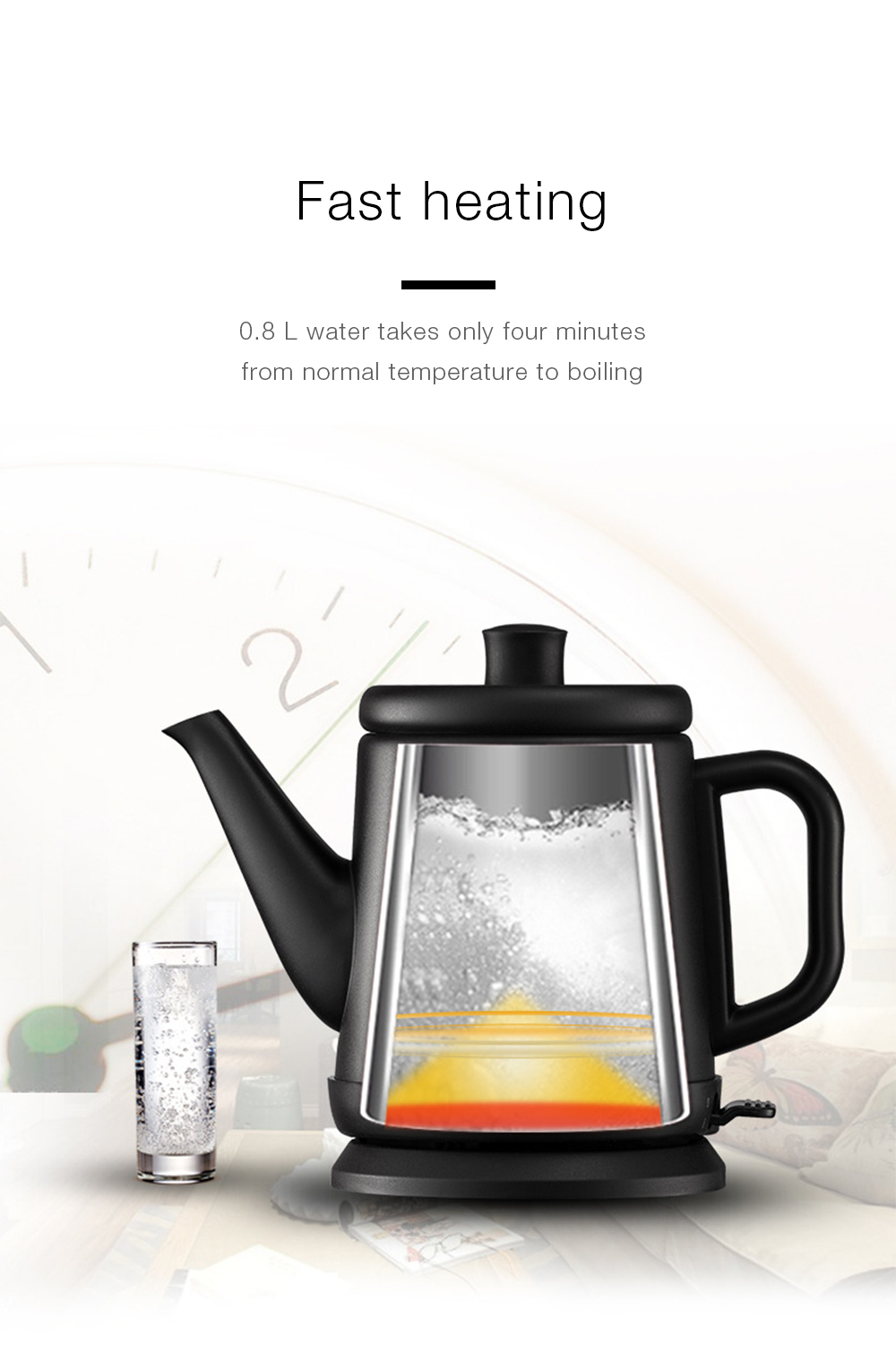 Stainless Steel Portable Long Mouth Electric Kettle- White Chinese Plug (3-pin)
